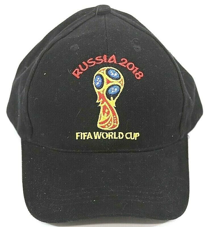 db70f930b92 Fifa World Cup Soccer Russia 2018 Cap Adjustable Black Hat  FIFA2018 ...