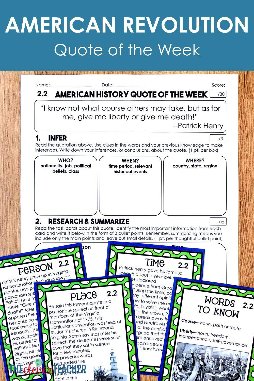 American Revolution - Task Cards \u0026 Literacy Strategies   Social studies  worksheets [ 1500 x 1000 Pixel ]