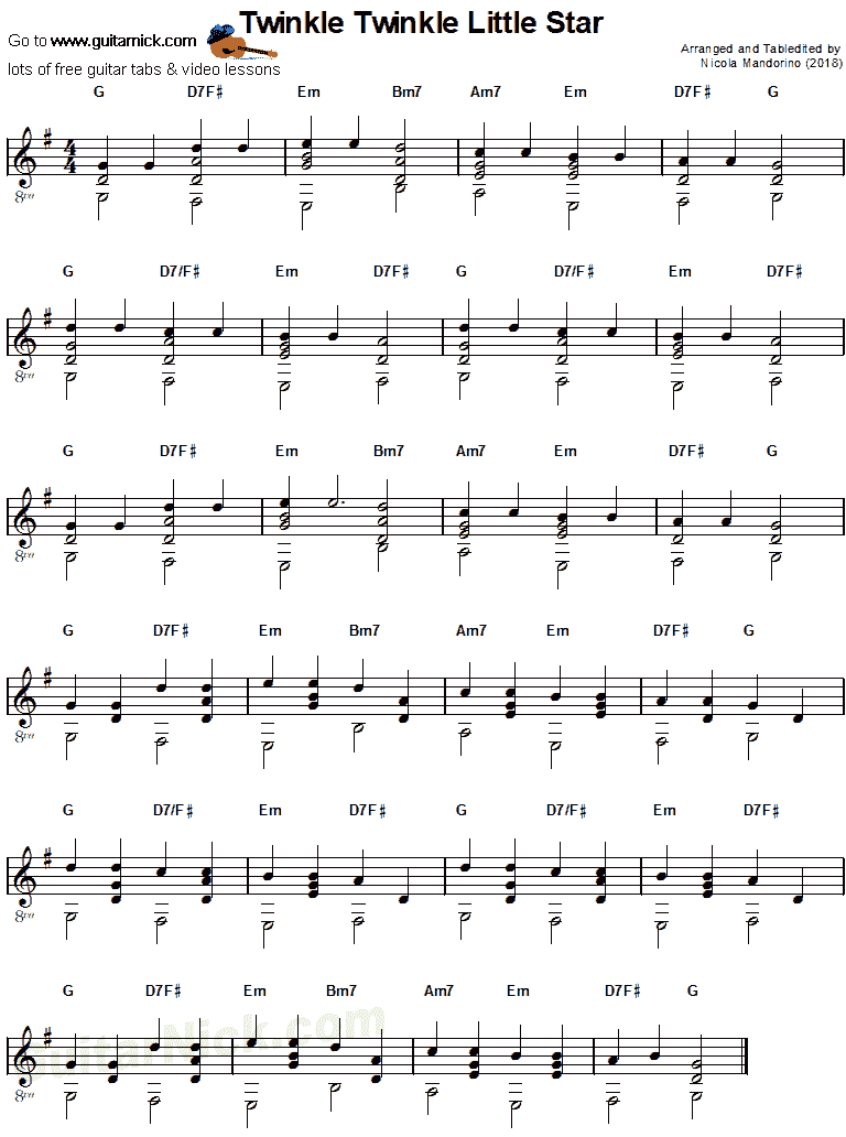 Twinkle Twinkle Little Star Guitar Sheet Music Guitar And