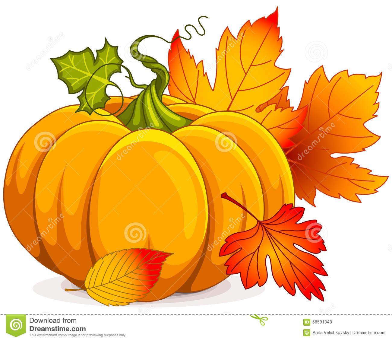 Photo about Illustration of Autumn Pumpkin and leaves ...