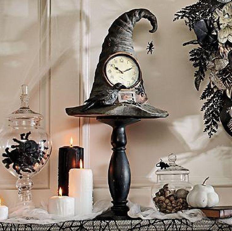 clock witch hat pedestal mantel halloween decor raven black bird spider web prop - Raven Halloween Decorations