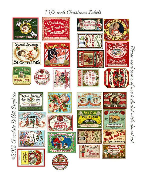 30 Dollhouse Miniature Vintage Style Christmas Labels Digital Download Printable Original Clip Art Jar Bottle Tag Image Collage Sheet #dollhouseminiaturetutorials