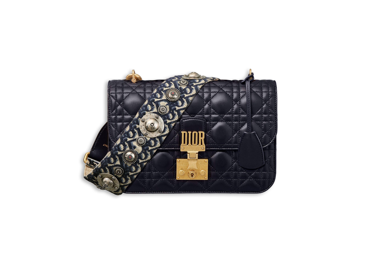 a641ffbd5f2 Dioraddict flap bag in blue cannage lambskin with dior oblique shoulder  strap - Dior