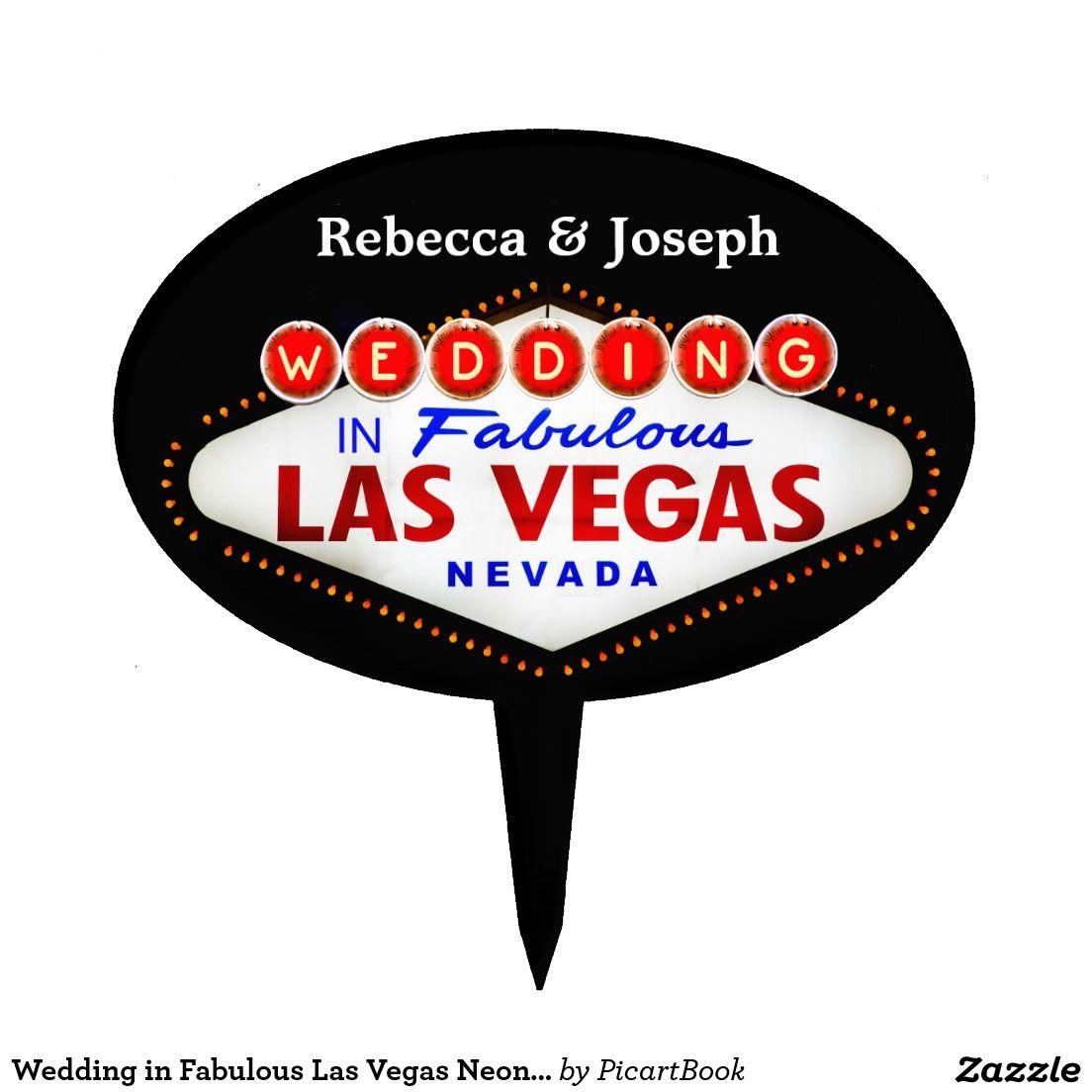 Wedding in Fabulous Las Vegas Neon Sign Poker Cake Topper