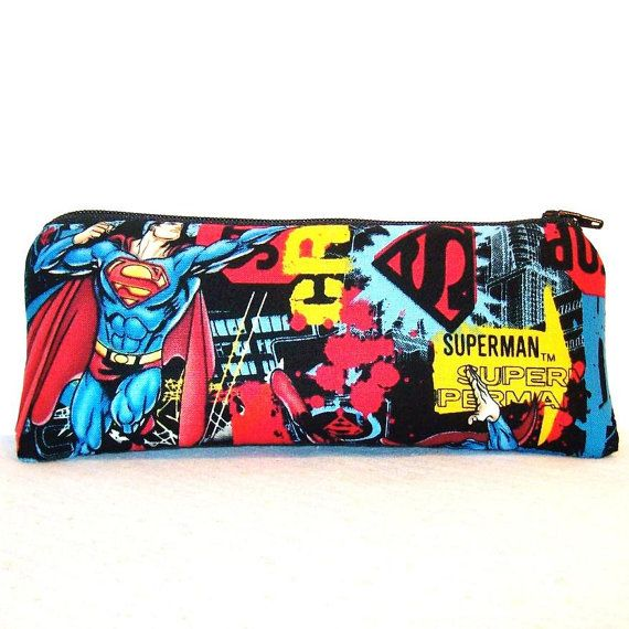 "Superman Superhero Print Cotton Padded Pipe Pouch 7.5"" / Glass Pipe Case / Spoon Cozy / Piece Protector / Pipe Bag / LARGE by PouchAPalooza, $13.00"