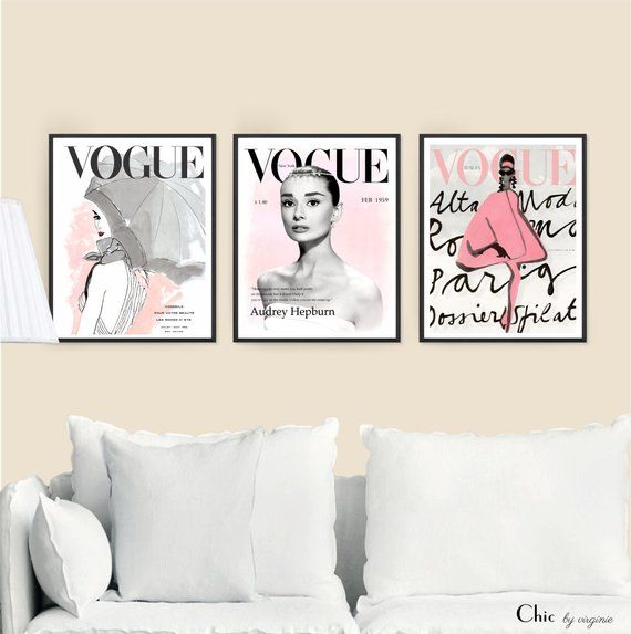 Vogue Posters Fashion Wall Art Set Of 3 Vogue Audrey Hepburn Print Home Decor Vogue Prints Gift For Her W Fashion Wall Art Watercolor Art Prints Prints
