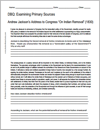 Andrew Jackson - On Indian Removal, 1830 ||| Free Printable DBQ ...