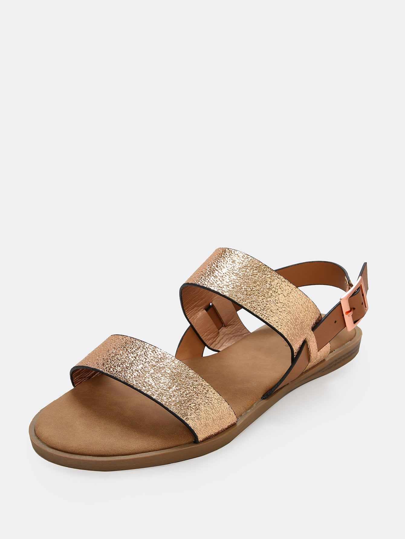 be654558922 Casual Open Toe Gold Low Heel Crinkled Gold Double Strap Sandals ...