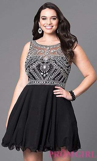 short a-line plus-size prom dress with jeweled bodice at promgirl