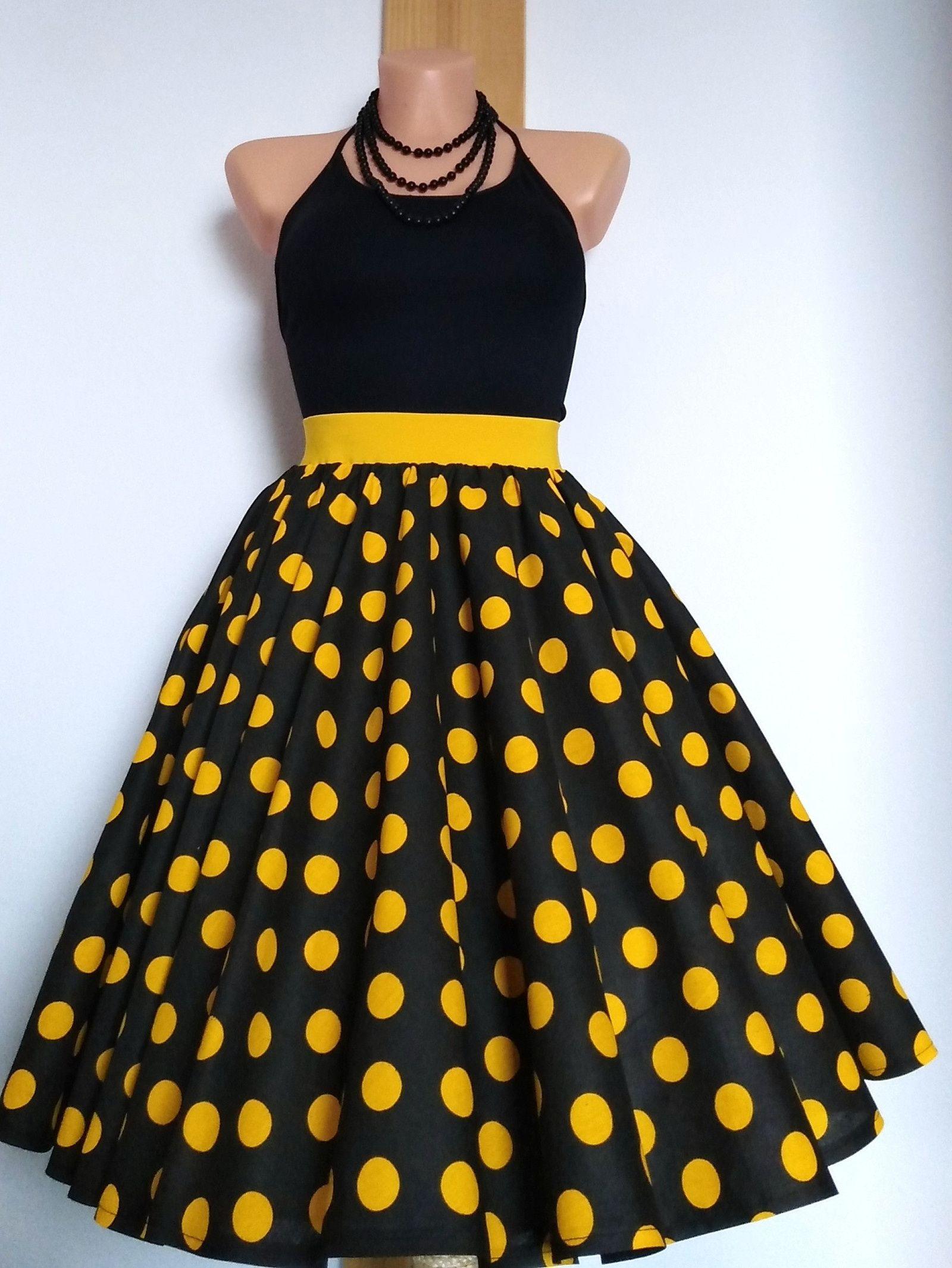 dc055bb42d91 Sukně+žlutá+tečka+Kolová+sukně+z+kvalitní+pevné+100%+bavlny.+Barva ...