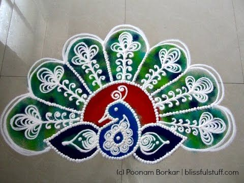Beautiful Peacock Rangoli, How to draw Sanskar bharati ...