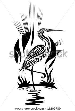 Heron Tattoo Stock Photos Heron Tattoo Stock Photography Heron Tribal Bird Tattoos Heron Tattoo Silhouette Stencil