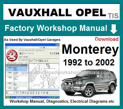 Vauxhall Opel Monterey Workshop Manual Wiring Diagrams Antara
