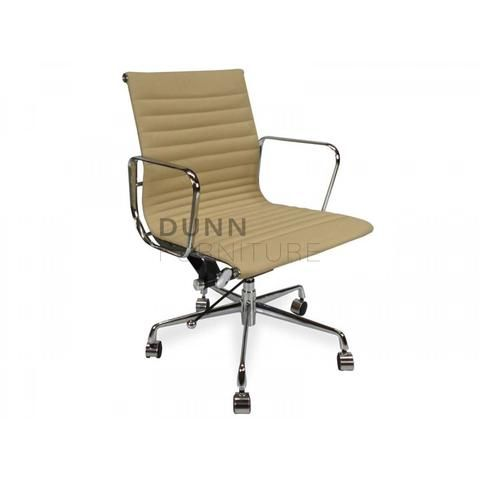Management Leather Office Chair Eames Replica Light Brown   Dunn Furniture