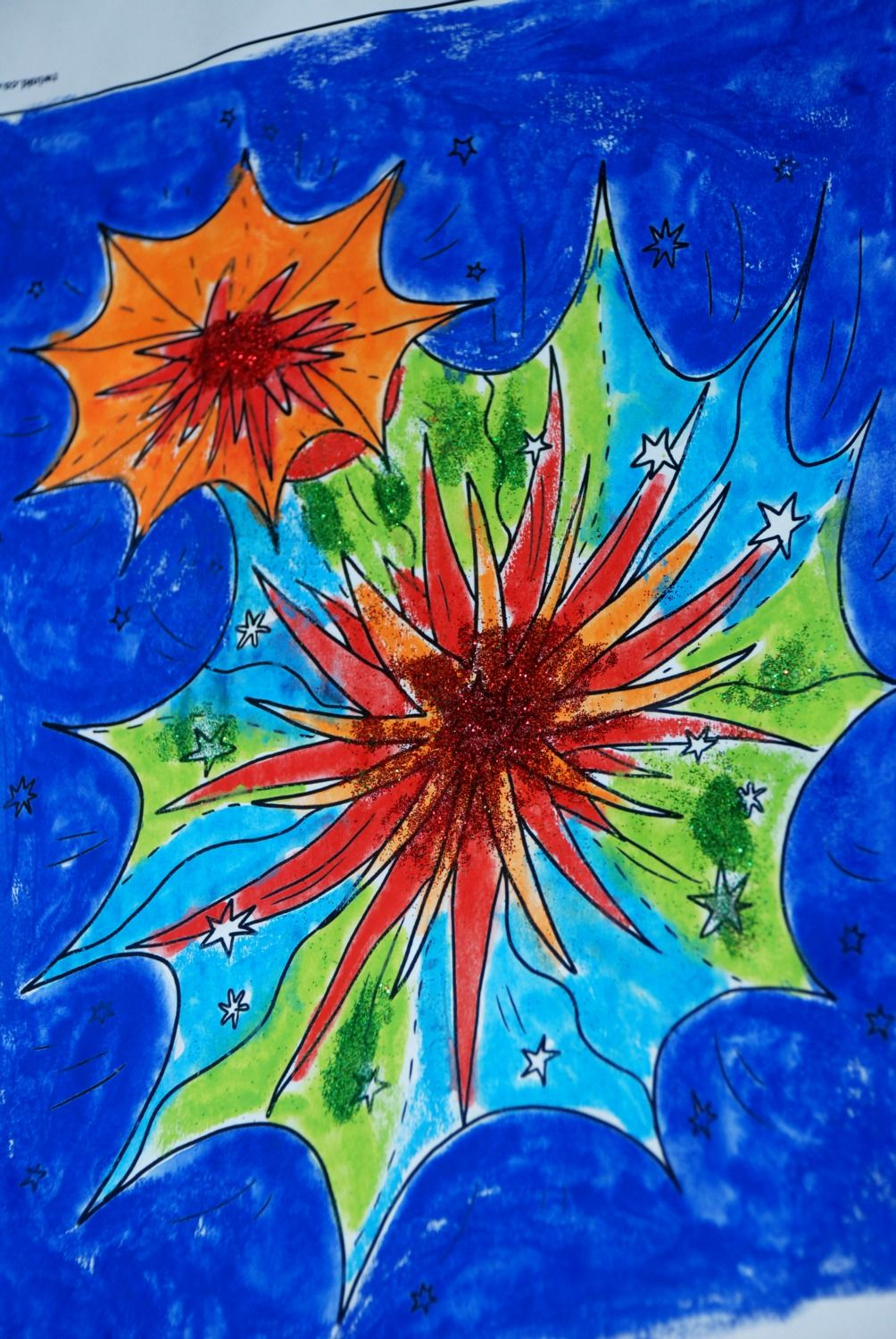 Firework pictures using a Twinkl colouring page our STABILO 3-in-1 ...