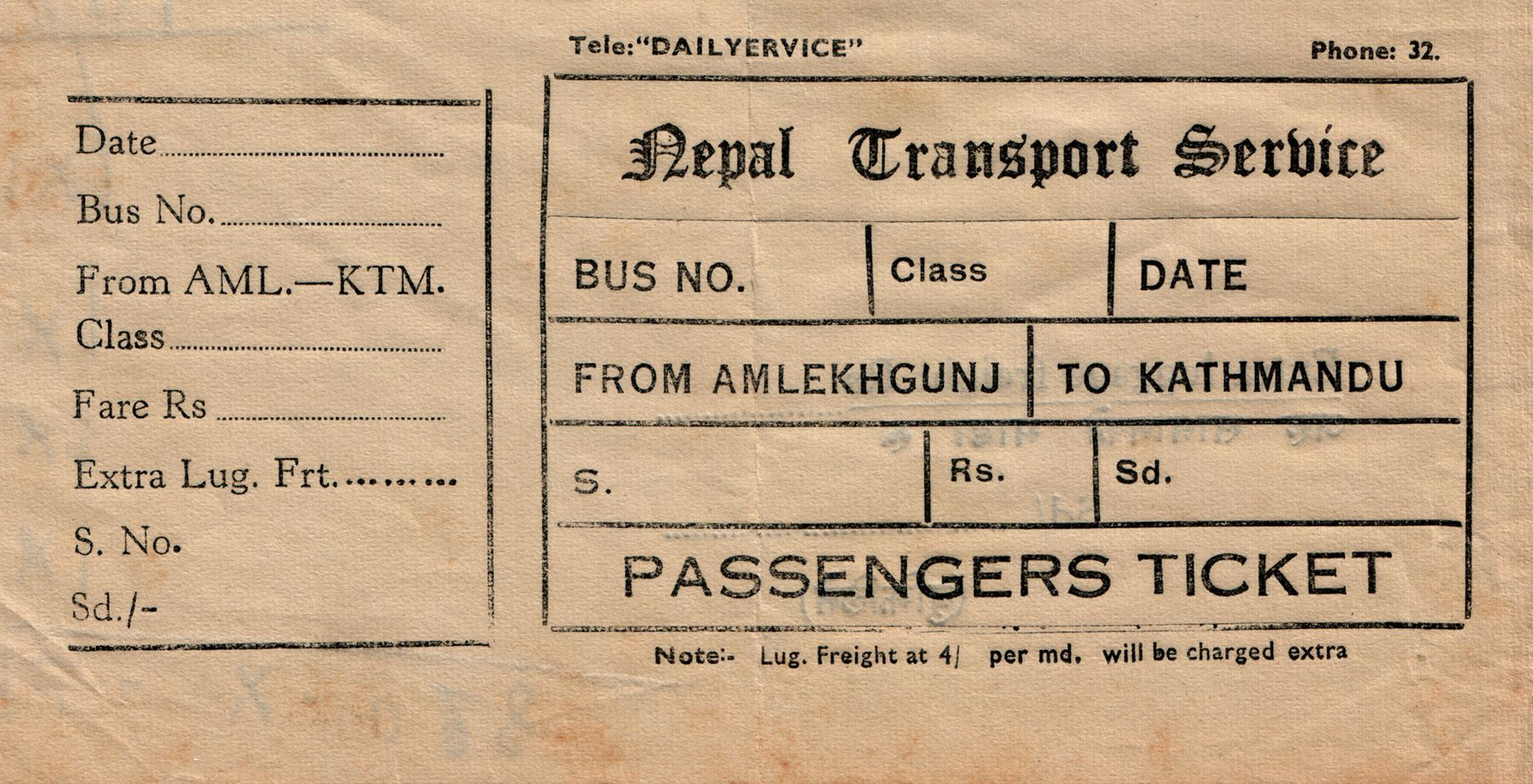 bus ticket of nepal transport service