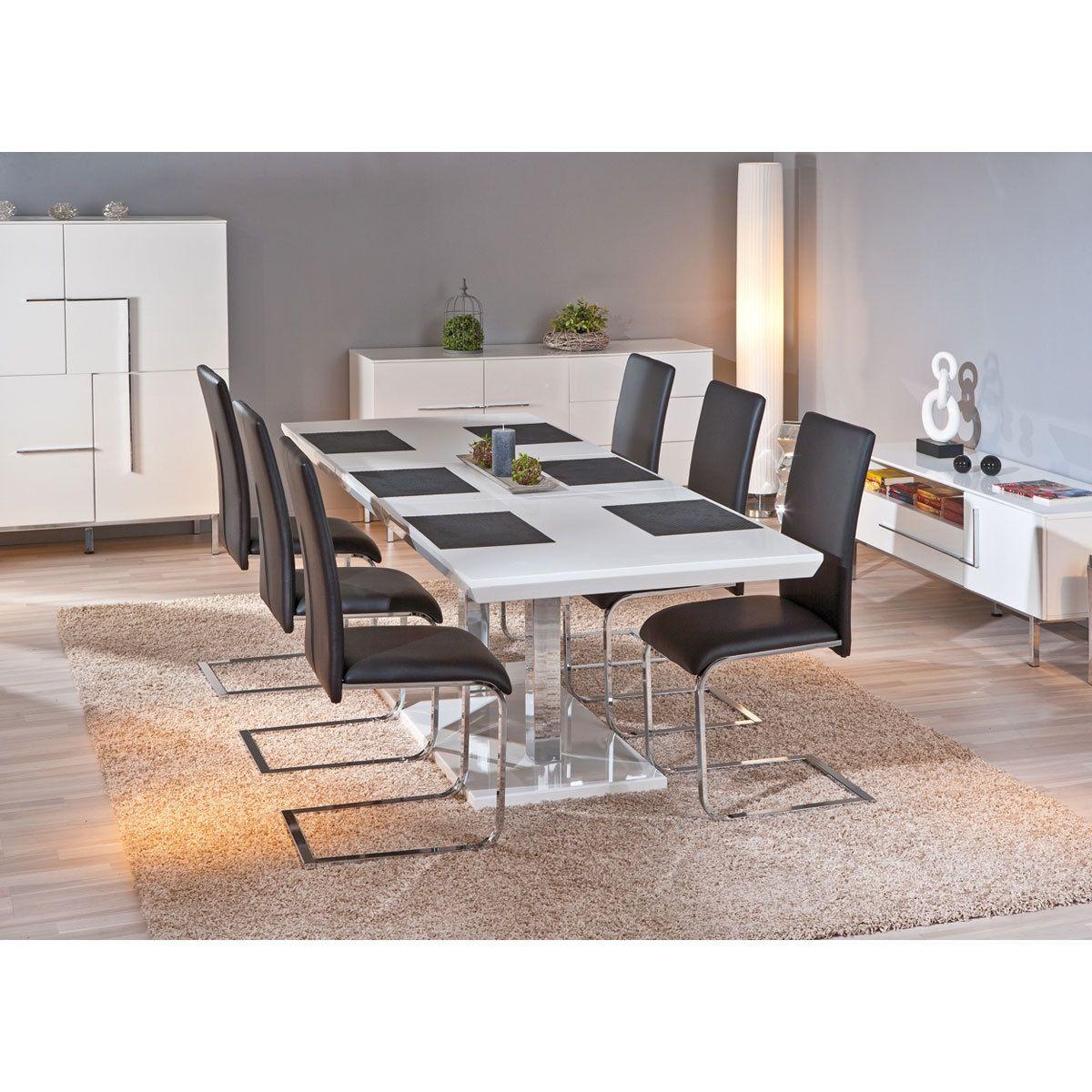 Table Extensible Laque Blanc Et Pieds Metal Chrome Edna In 2020