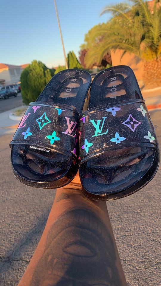 Custom LV Glitter Slides