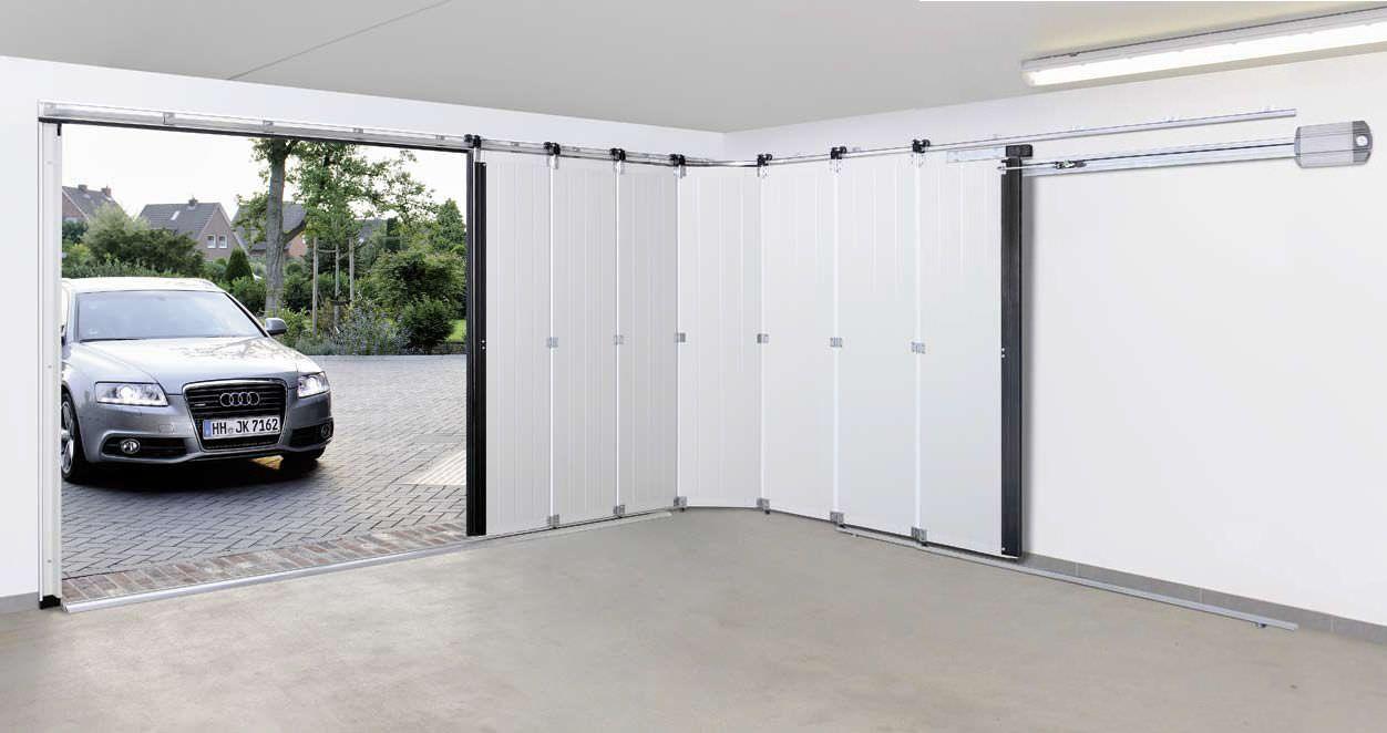 Best Idea Of Sliding Garage Doors In White Color With Black Frame