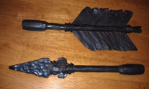 Curtain Rod Finials And Rod Hammered Iron Hand Forged Arrow Head
