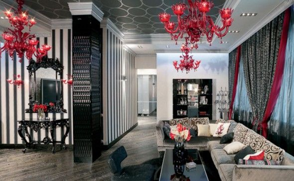 Magnificent Silver And Black Living Room Design Living ...