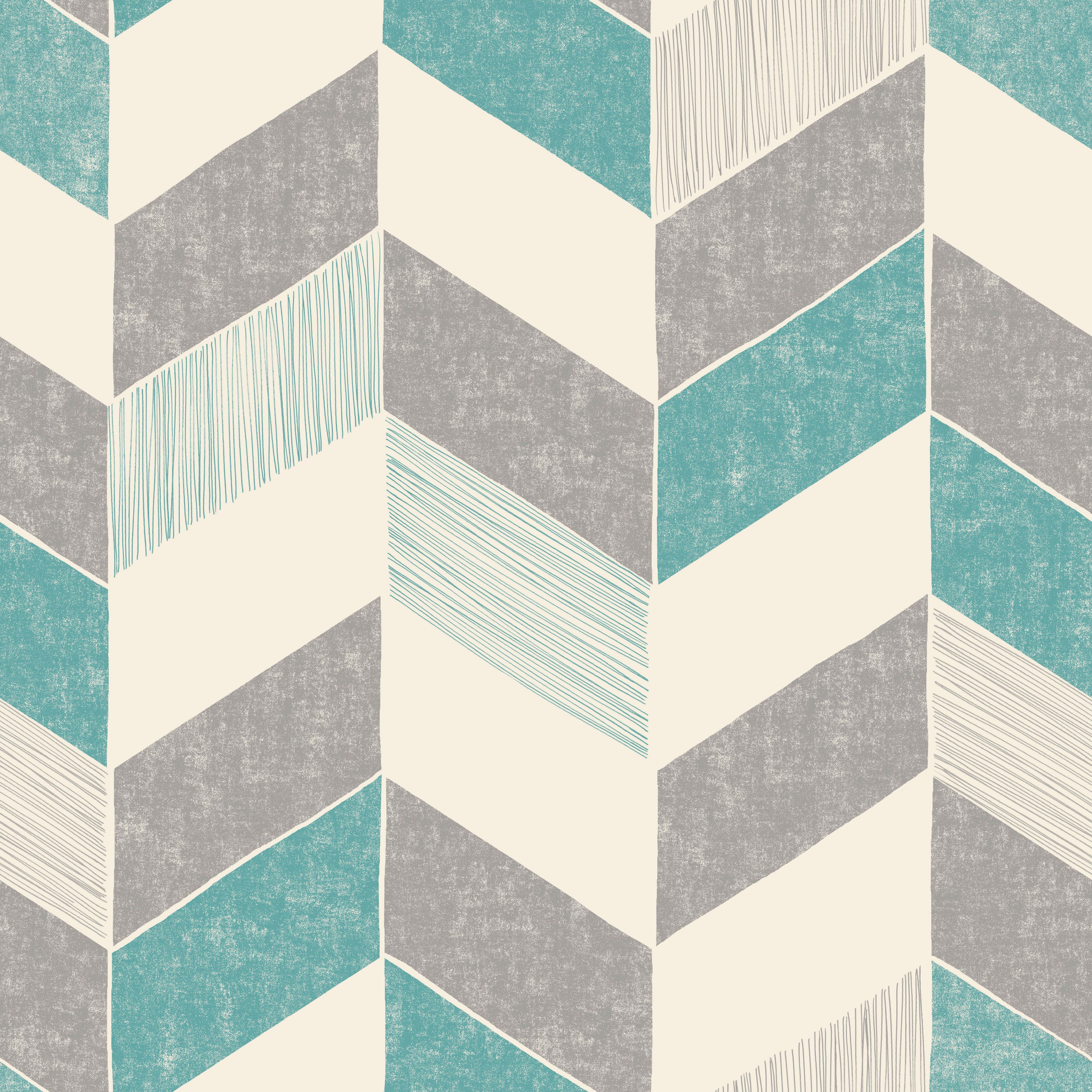 Fine Décor Astrid Teal Geometric Wallpaper Departments