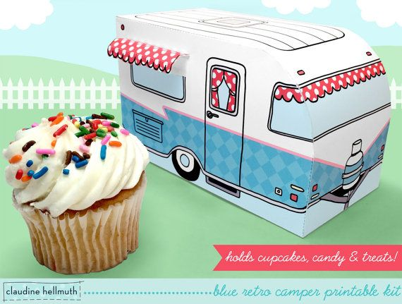 blue retro camper  cupcake box holds cookies and treats gift and