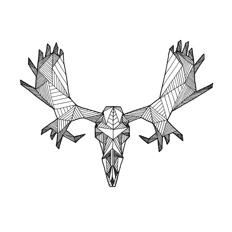 detailed geometric moose skull drawing digital art print from