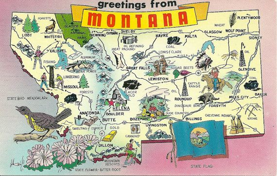 Greetings from Montana pictorial map postcard illustrated with
