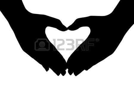 Hart gemaakt van handen op een witte achtergrond Stockfoto