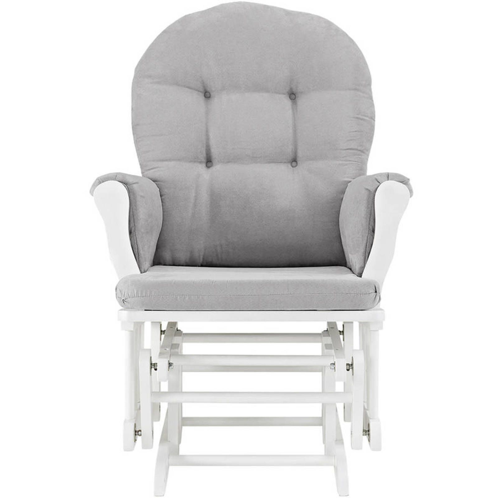 Glider and ottoman set white finish gray cushions nursery