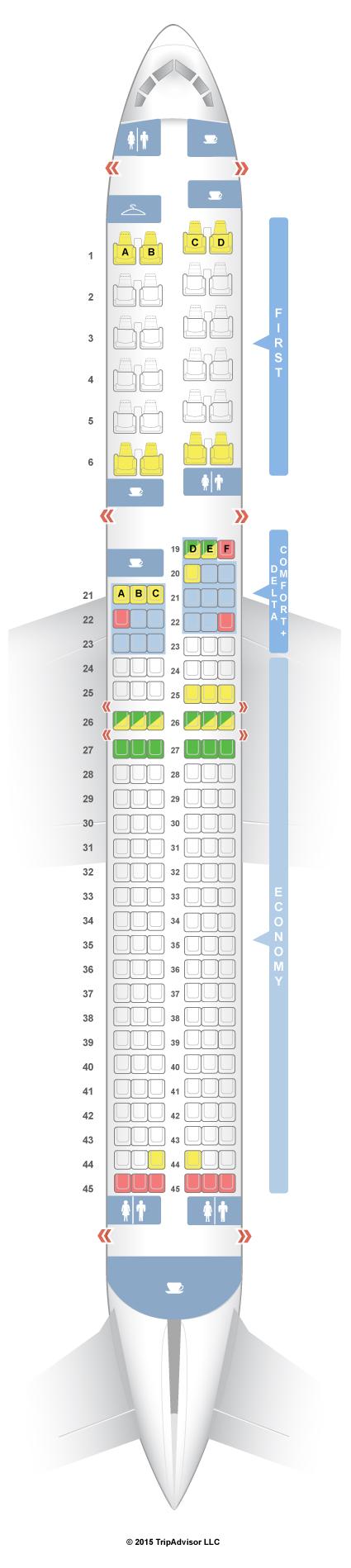 SeatGuru Seat Map Delta Boeing 757-200 (757/75U) | airplanes ... on