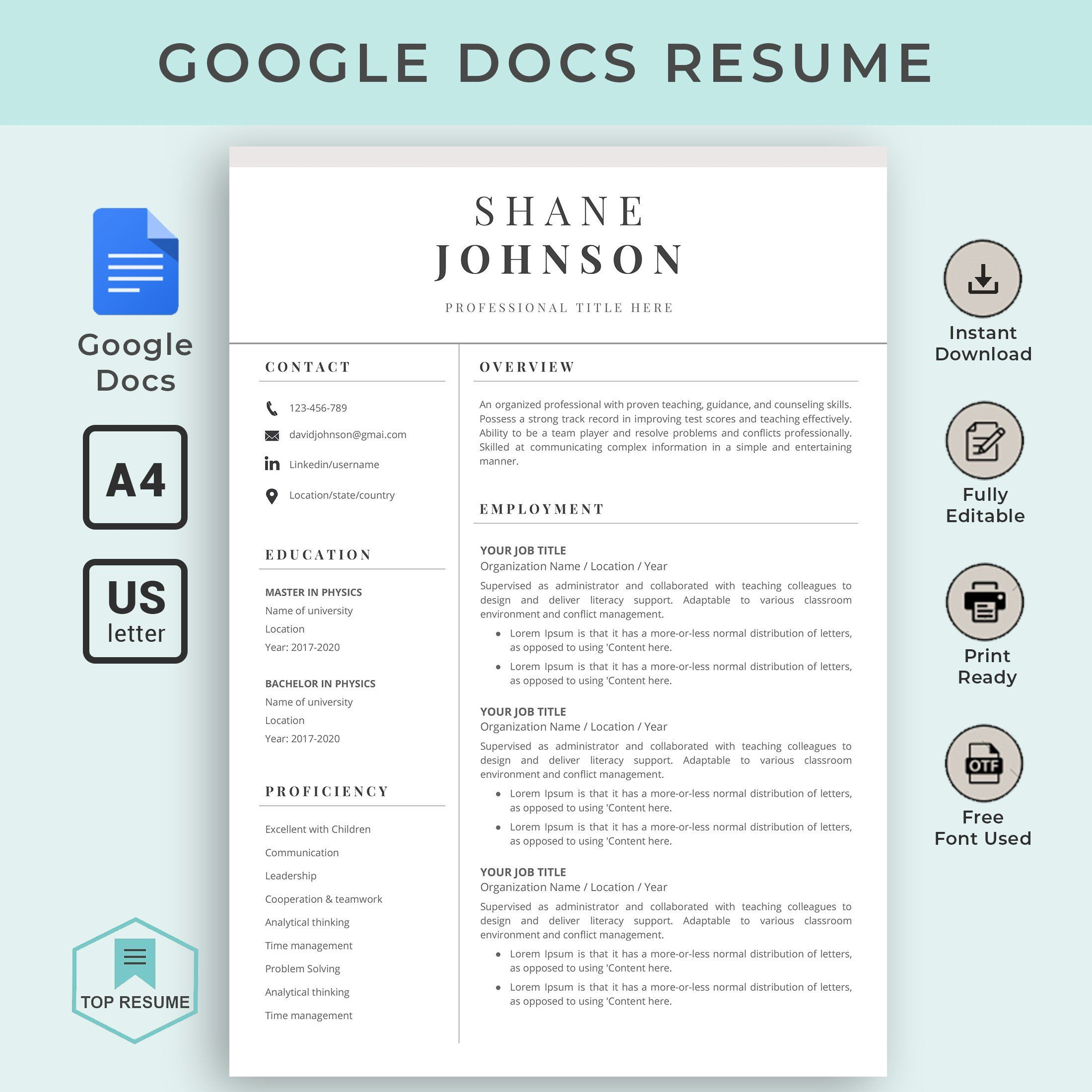 This item is unavailable Teacher resume template, Clean