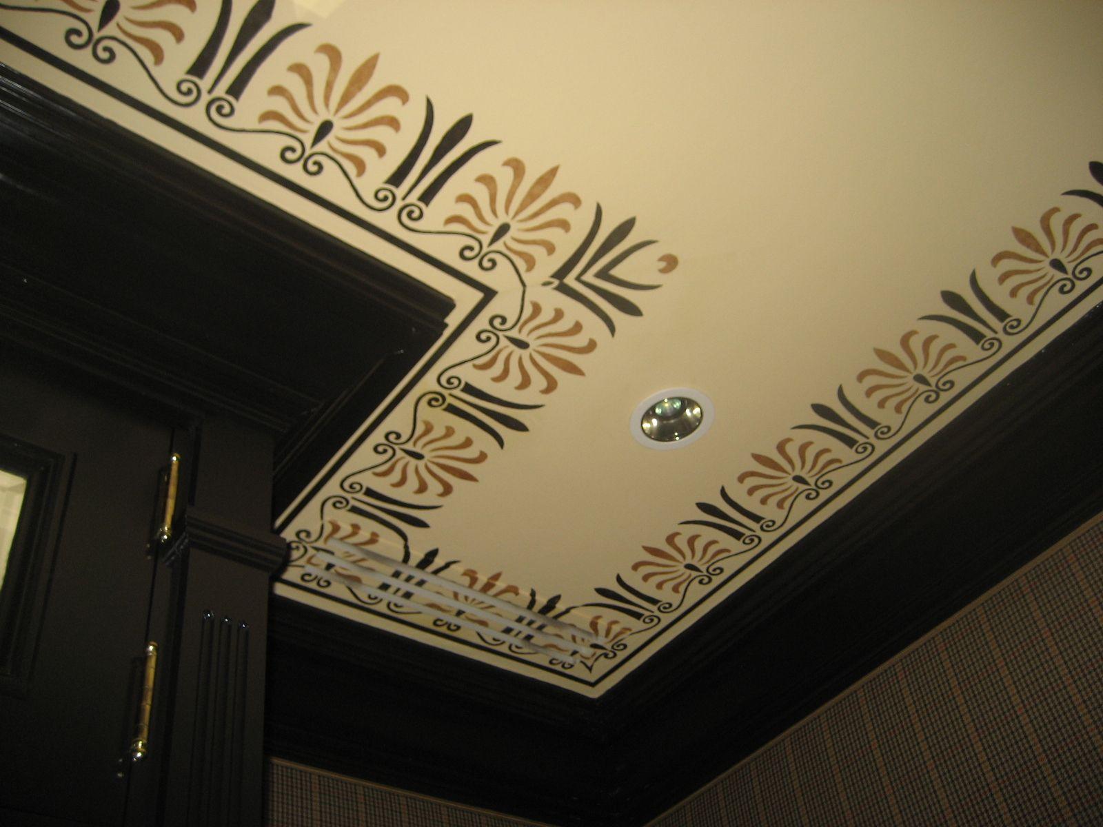Custom stencil design greek border on venetian plaster ceiling custom stencil design greek border on venetian plaster amipublicfo Gallery