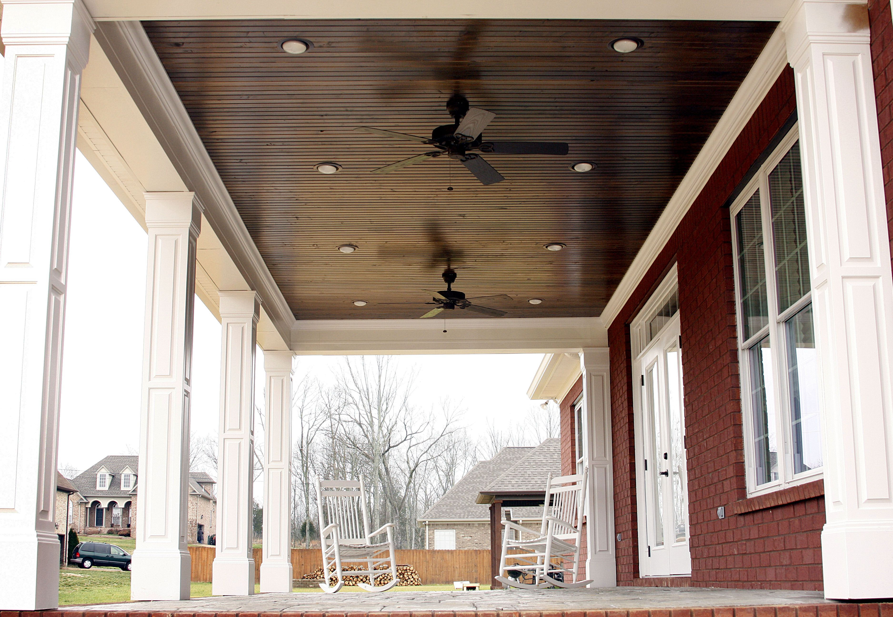 True Beadboard Porch Ceiling Over Stained Concrete Www Stewartknowlesconstruction Com Www Facebook Com Stewartknowl Craftsman Porch Porch Ceiling Porch Beams