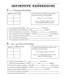 """If your students are like mine, using expressions with the infinitive are often difficult for Spanish language learners!  I created this handout to review and reteach this grammatical concept in a way my students would understand best.These notes/practice problems cover the expressions """"tener que,"""" """"ir a,"""" and """"acabar de.""""  Your students will love you for this handout!"""