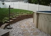 Retaining Wall Around Above Ground Pool Walls Flagstone Fence Patio Covers