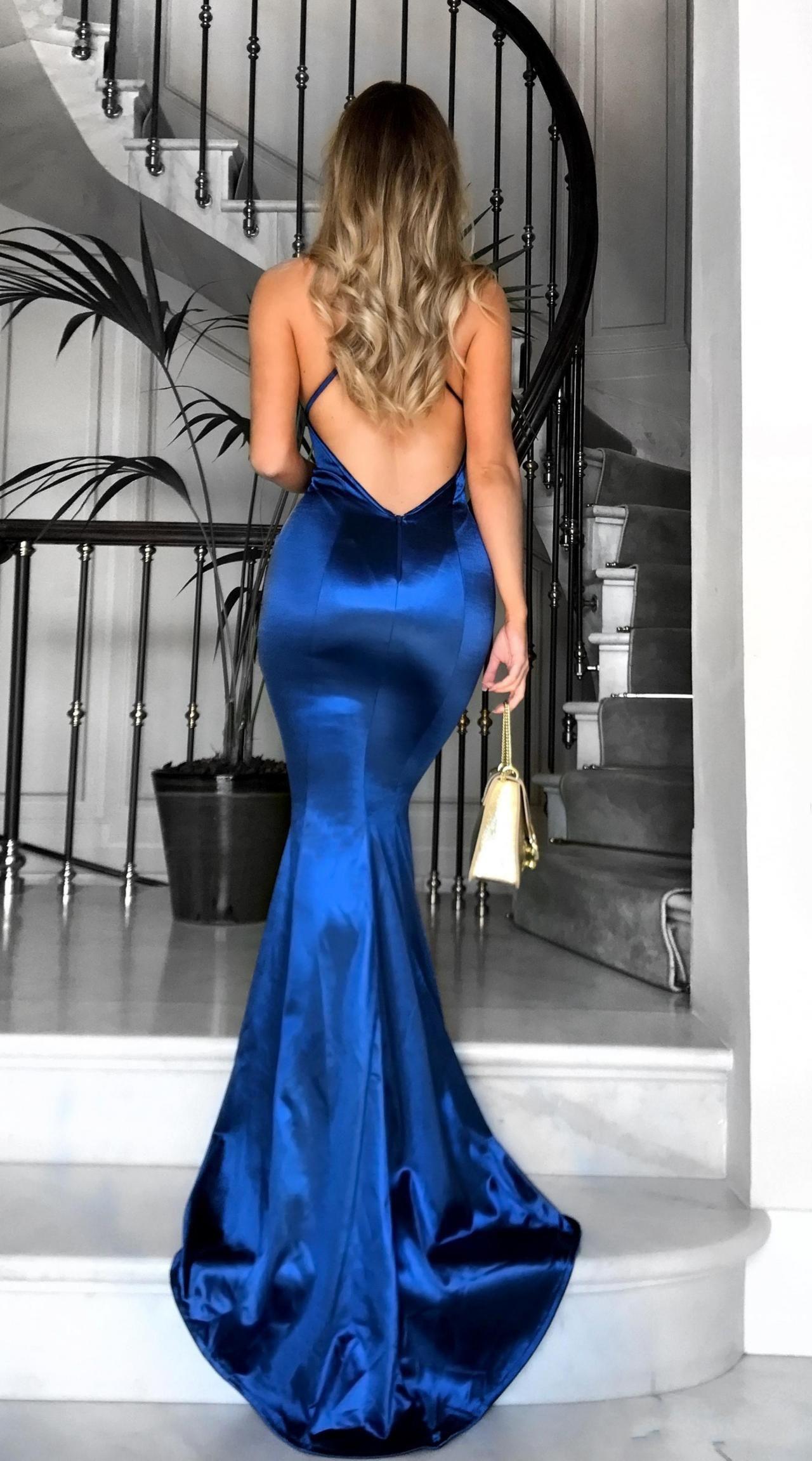 Vneck satin prom dress mermaid prom dress sexy prom dress