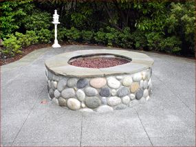 River Rock Fire Pit With Travertine Around The Top Would Like A Matching Sitting Wall To Go Corners Of Patio Perfect Coloring