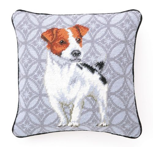 Jack Russel Terrier Needlepoint Pillow Jack Russell Terrier