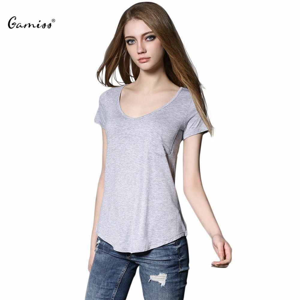 2016 New Arrival Gamiss Casual V Neck Regular Length Short Sleeve Solid Color Broadcloth Cotton Women Shirts