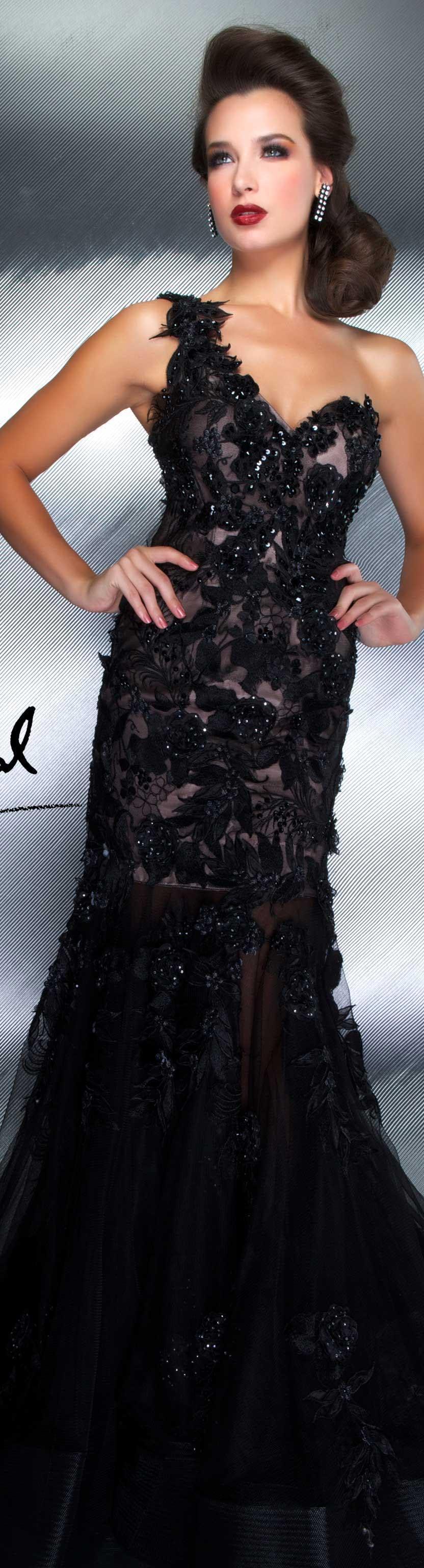 Vestido longo preto um ombro só coleção mac duggal couture dresses