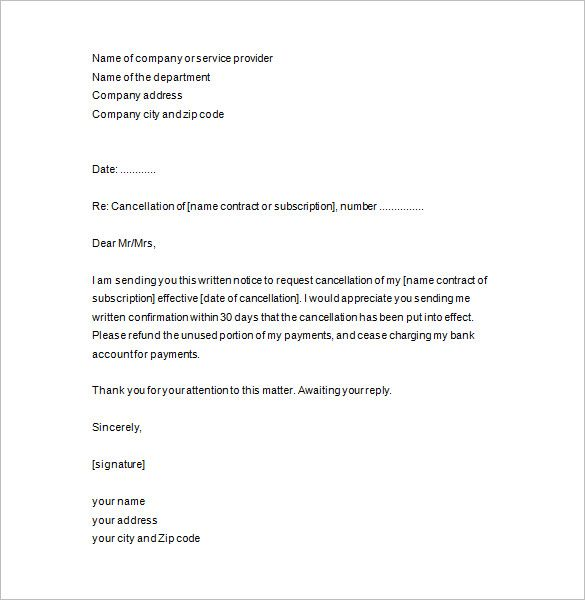 notice termination letter template cancellation letterncellation - new sample letter to refund tickets