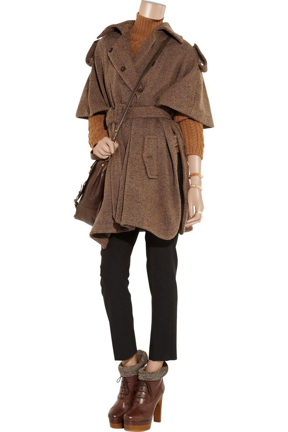 Wool-blend tweed cape by Miu Miu