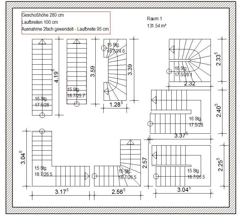 Treppenformen und Maße für Grundrisse Stairs and