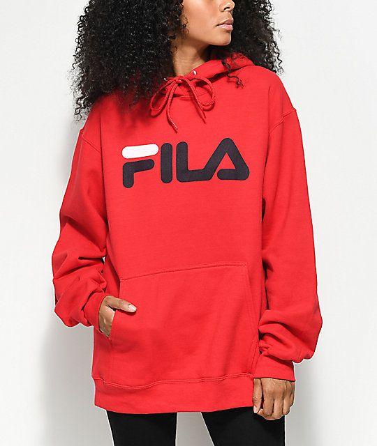 glad winkelen voor kijk uit voor FILA Logo Red Hoodie   Clothes in 2019   Fila outfit, Red ...
