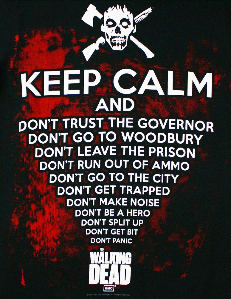 Keep Calm - Walking Dead T-shirt  Adult Large - Black  2cf4d02f66