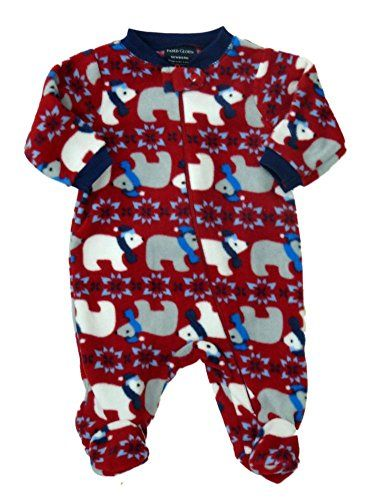 e35971ea585c Faded Glory Infant Boys Red Fleece Polar Bear Sleeper Holiday ...