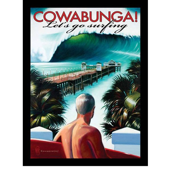 Surf Signs Decor Interesting Cowabunga Lets Go Surfing Metal Sign Decorating Inspiration
