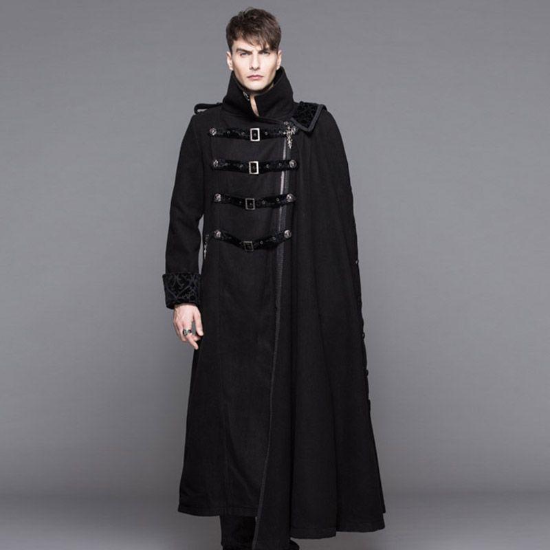 2ca0fc9363e3b 安い悪魔ファッションスチームパンク高襟黒ロングトレンチコートの男性ゴシック厚いオーバーコートで取り外し可能なケープ冬着て、購入品質ウール ブレンド、直接中国  ...